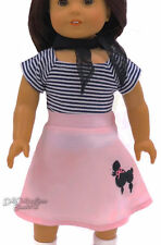 Poodle Skirt Dance Outfit for American Girl Doll Clothes 3 Piece Costume