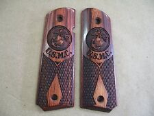 Colt 1911 Double Diamond Rosewood Checkered Grips With USMC Laser Engraved Logo