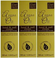3x 100ml Argan Oil Hand & Nail Cream With Moroccan Argan Oil Extract Hydrates