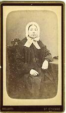 BELLOTTI St Etienne portrait femme costume traditionnel bonnet dentelles 1880