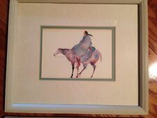 """Carol Grigg """"Crow Warrior"""" Framed Print Double Matted Watercolor"""