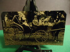 Tintype of 2 Women with Man Driver in a Buggy