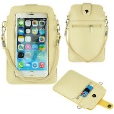 "Beige PU Leather Cross-body Case Bag Carry Pouch Wallet for 5.5"" iPhone 7 Plus"
