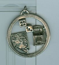 "NEVADA Key Ring Gambling Dice Slot Machine 1/5"" diameter silver color VG"