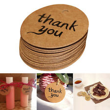 100Pcs Thank You Wedding Brown Kraft Paper Tag Favor Gift Tags Candy Box Tags AU