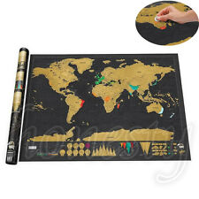 Deluxe Travel Edition Personalised World Scratch Off Map Poster Journal Log Gift