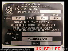 TRIUMPH STAG USA MODEL CHASSIS PLATE CLASSIC CAR ID NEW @ VIN-PLATE-ESSENTIALS