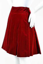 Philosophy di Alberta Ferretti Red Cotton Velvet Pleated A Line Mini Skirt SZ 4