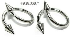 """2pcs.16g~3/8"""" with 3x6mm spikes 316L Steel Spike Spiral Twister Lip, Earring"""