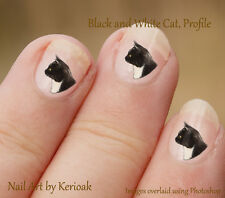 Black and White Cat Profile, 24 Unique Designer Nail Art Stickers Decals