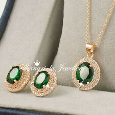 14K GOLD GF OVAL EMERALD NECKLACE EARRINGS Wedding SET SWAROVSKI DIAMOND L342
