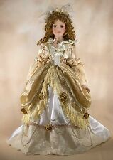 """DanDee Collector's Choice Porcelain Doll 20"""" Brown Curly Hair Brown Eyes w/Stand"""