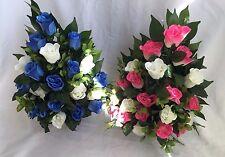 Soie artificielle fleur tombe vase arrangement paire rose rose bleu creme hommage
