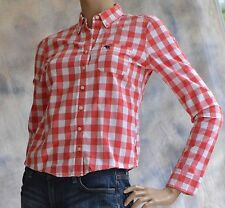 Abercrombie & Fitch Sz S Shirt Blouse Button Down Red White Check 100% Cotton