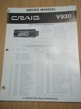 Craig Service Manual~V930 Car Stereo Radio Receiver~Original Repair Manual