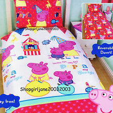 Peppa Pig ✫ Funfair ✫ reversible Single/US Twin Bed Quilt Doona Duvet Cover Set