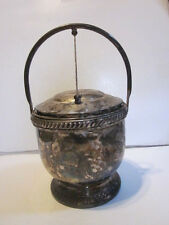VINTAGE SILVER ON COPPER HEAVY VACUUM INSULATED GLASS ICE BUCKET