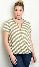E75~NEW OLIVE IVORY KEYHOLE NECKLINE HI LOW HEM KNIT Top Plus Size 3X 3XL 22 24