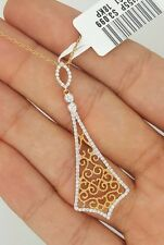 18K SOLID PINK ROSE GOLD DIAMOND MOVING HANGING RHOMBUS FLOWER PENDANT NECKLACE