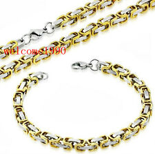 Small 6mm Stainless Steel Byzantine Link Chain Men's Necklace And Bracelet set
