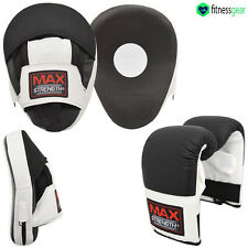 Black Focus Pads Hook Jab Mitts Boxing Gloves MMA Sparring Punching Punch Bag