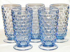 Vintage LIGHT BLUE Set of (5) JEANNETTE (THE) CUBE Footed GLASSES/TUMBLERS Nice!