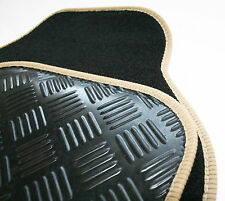 Honda Accord (82-92) Black Carpet & Beige Trim Car Mats - Rubber Heel Pad