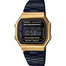 "CASIO A168WEGB-1BEF ""GOLD-BLACK. NEW MODEL. WR. 50 M. CHRONO-ALARM"" RETRO."