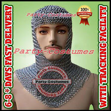 Medieval Knights Clothing Butted Aluminium Chain Mail Coif Ring Maille Hood