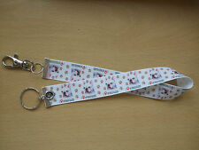 Handmade French Bulldog Bag Key Finder Charm Long Fob Ring Pup Dog White Love My