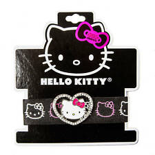 Hello Kitty Pave Crystal Heart Bracelet Sanrio Stretchy Black Elastic Bracelet