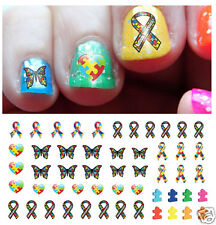 Autism Awareness Ribbon Nail Art Waterslide Decals Set #2 - Salon Quality!