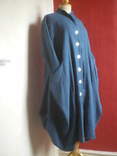 TEAL HEAVY LINEN BALLOON COAT.VGC.TULIP,QUIRKY,ARTY,LAGENLOOK,UNUSUAL,ITALIAN