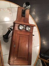 ANTIQUE WESTERN ELECTRIC WOOD FIDDLEBACK WALL CRANK TELEPHONE , NICE