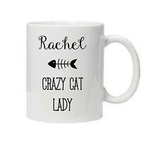 Personalised Crazy Cat Lady Mug/Cup - Ideal Birthday Gift - Christmas/Xmas