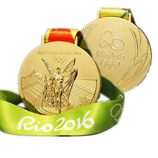 RIO 2016 OLYMPIC GOLD MEDAL WITH RIBBON COLLECTIBLE COMMEMORATIVE SOUVENIR US
