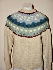 VINTAGE 80s WOOLRICH*IVORY LAMB SHEEP FAIR ISLE PRINT WOOL MOCK NECK SWEATER*S