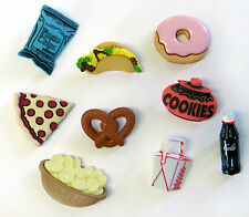 Set of 9 cute kitsch kawaii FAST FOOD SNACK buttons cabachons scrapbook pizza