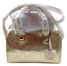 Michael Kors Grayson Large Satchel Signature Mirror Gold long Adj Strap NWT
