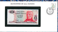 Banknotes of all Nations Argentina 1983-85 1 Peso P 311a2 UNC Serie B  Vasquez