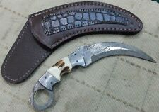 Custom made Beautiful Damascus Karambit knife with Stag Horn