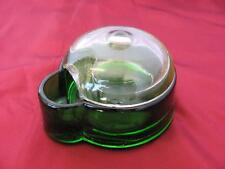 1930s ANTIQUE ART DECO UNIQUE EMERALD GREEN CRYSTAL GLASS INKWELL