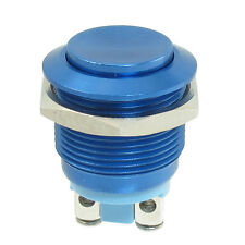 19mm Mounted Thread Momentary SPST Blue Stainless Steel Round Push Button Switch