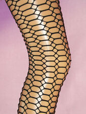 Black Lycra HONEYCOMB Pattern Ladies Tights. NEW 8-12 punk goth lace fishnet