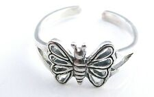 Funky 925 Sterling Silver Butterfly Toe Ring - Also Great Ring for Small Fingers