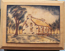 ORIGINAL PAINTING & CARVING ON LEATHER BY LOUIS GAUTHIER 1981 ON WOODEN FRAME
