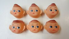 6) Rubber Face Pixie Elf Heads / Faces, 2 inch