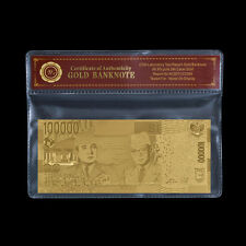 Indonesia 100000 100,000 Rupiah Pure 24k Gold Foil Banknote Collectable Free COA