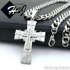 """20""""MEN Stainless Steel 9x4mm Silver Cuban Curb Chain Necklace Cross Pendant*N7"""