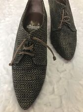 Fausto Santini Oxford Booties Lace Up Checked Fabric Pumps 37.5 7